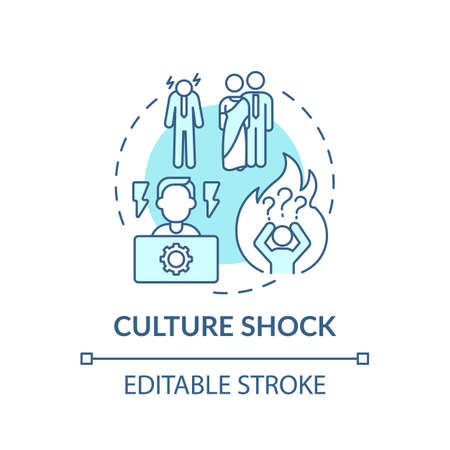 Entering new culture person has unpleasant sensations concept icon. Conflict different cultures idea thin line illustration. Vector isolated outline RGB color drawing. Editable stroke 일러스트