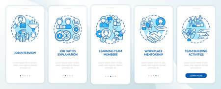 Job interview, duties explanation onboarding mobile app page screen with concepts. Worker adaptation stages walkthrough 5 steps graphic instructions. UI vector template with RGB color illustrations