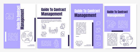 Guide to contract management brochure template. Agreements planning. Flyer, booklet, leaflet print, cover design with linear icons. Vector layouts for magazines, annual reports, advertising posters Stock Illustratie