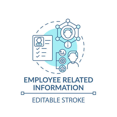 Employee related information concept icon. Learning resumes of workers idea thin line illustration. Material and working conditions. Vector isolated outline RGB color drawing. Editable stroke