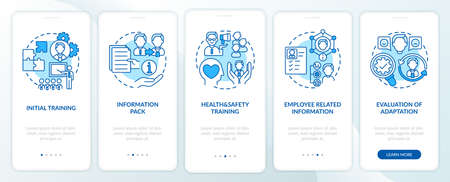 Initial training and basic information onboarding mobile app page screen with concepts. Health and safety walkthrough 5 steps graphic instructions. UI vector template with RGB color illustrations