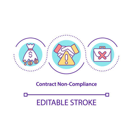 Contract non-compliance concept icon. Violating obligations fulfillment idea thin line illustration. Noncompliance with contracts. Vector isolated outline RGB color drawing. Editable stroke