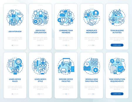 Workplace of mentorship onboarding mobile app page screen with concepts set. Learning team members walkthrough ten steps graphic instructions. UI vector template with RGB color illustrations