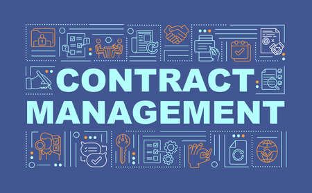 Contract management word concepts banner. Company performance. Contract administration. Infographics with linear icons on blue background. Isolated typography. Vector outline RGB color illustration Stock Illustratie