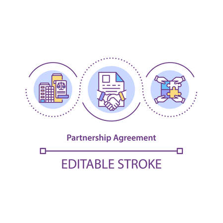 Partnership agreement concept icon. Contract between partners idea thin line illustration. Business objectives. Establishing obligations. Vector isolated outline RGB color drawing. Editable stroke