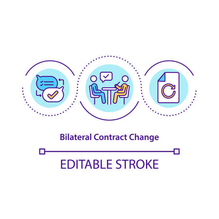 Bilateral contract change concept icon. Contract conditions modification idea thin line illustration. Contractor and contracting officer. Vector isolated outline RGB color drawing. Editable stroke Stock Illustratie
