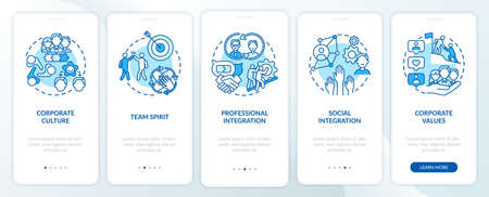 Corporate values onboarding mobile app page screen with concepts. Teamwork. Worker adaptation elements walkthrough 5 steps graphic instructions. UI vector template with RGB color illustrations