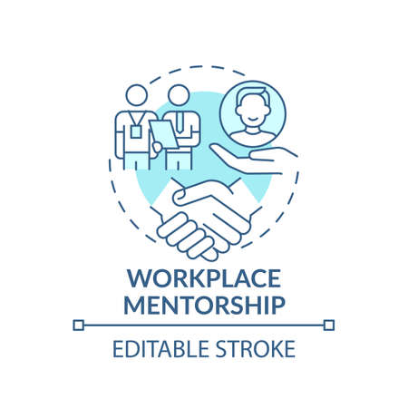 Learn worker partnership of sharing information concept icon. Workplace mentorship idea thin line illustration. Supervision and leadership. Vector isolated outline RGB color drawing. Editable stroke