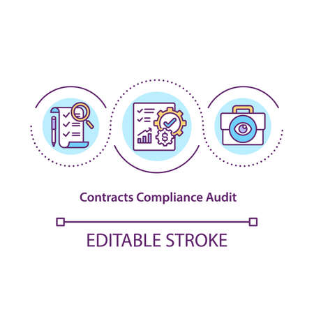 Contract compliance audit concept icon. Contracts and terms review idea thin line illustration. Ensuring contractual obligations. Vector isolated outline RGB color drawing. Editable stroke