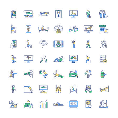 At-home fitness workout RGB color icons set. Online physical training classes. Building strength and balance. Burning calories, losing weight. Online fitness coach. Isolated vector illustrations