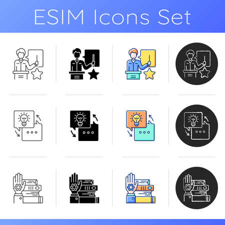 Workshop icons set. Knowledgeable presenter. Sharing experience. Details of training practice. Sharing experience. Linear, black and RGB color styles. Isolated vector illustrations