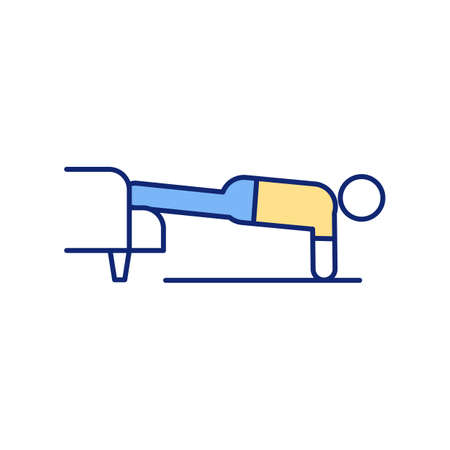 Sofa push-ups RGB color icon. Couch to press-ups. Engaging abdominal muscles. Building upper body strength. Stimulating pectorals. Home workout. Fat-burning exercise. Isolated vector illustration