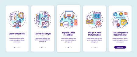 Newbie adaptation tips onboarding mobile app page screen with concepts. Entering workplace. Responsibilities walkthrough 5 steps graphic instructions. UI vector template with RGB color illustrations