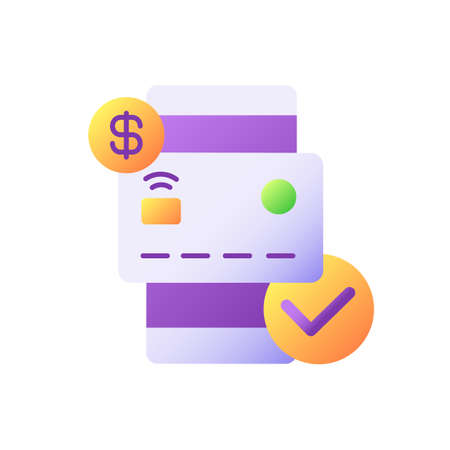 Check balances vector flat color icon. E wallet application. Mobile banking app. Credit card transaction. Successful e payment. Cartoon style clip art for mobile app. Isolated RGB illustration