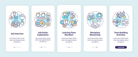 Worker adaptation stages onboarding mobile app page screen with concepts. Recruitment. Knowledge with company walkthrough 5 steps graphic instructions. UI vector template with RGB color illustrations