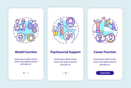 Worker adaptation functions of mentor onboarding mobile app page screen with concepts. Develop skills. Career walkthrough 3 steps graphic instructions. UI vector template with RGB color illustrations