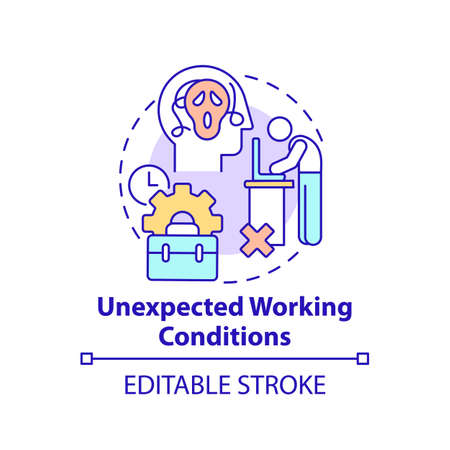Unexpected working conditions concept icon. New worker emotional burden factor. Unfulfilled desires thin line illustration. Unrealized dream. Vector isolated outline RGB color drawing. Editable stroke