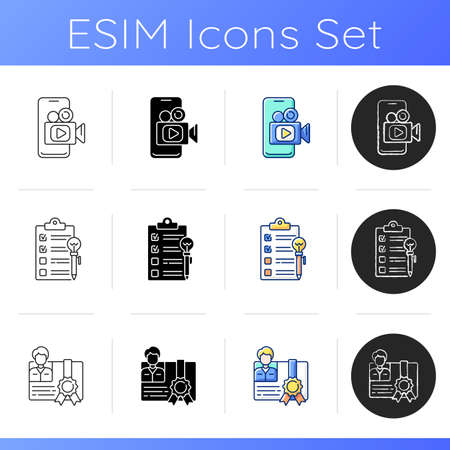 Knowledgeable presenter icons set. Workshop icons. Mobile broadcast. Mastery development. agenda worksheet. On-demand webinar. Linear, black and RGB color styles. Isolated vector illustrations Vector Illustratie