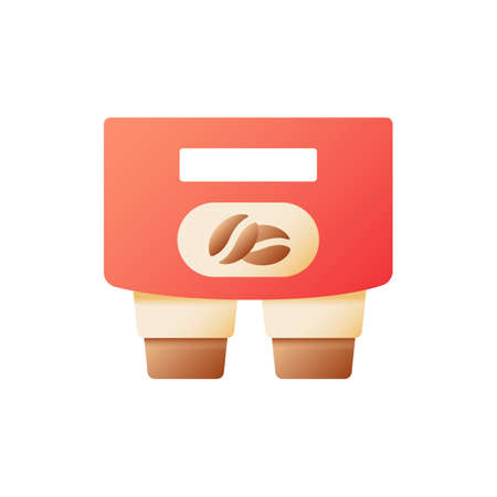 Coffee to carry vector flat color icon. Disposable cups in holders. Tea to go. Take out order. Take away. Fast food delivery. Cartoon style clip art for mobile app. Isolated RGB illustration