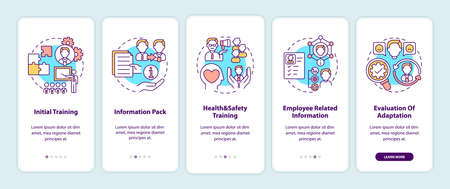 Employee adaptation program elements onboarding mobile app page screen with concepts. Teamwork. Work process walkthrough 5 steps graphic instructions. UI vector template with RGB color illustrations