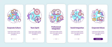 Worker adaptation elements onboarding mobile app page screen with concepts. Work in team. Corporate culture walkthrough 5 steps graphic instructions. UI vector template with RGB color illustrations