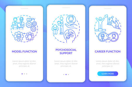 Mentorship with new worker onboarding mobile app page screen with concepts. Psychosocial support walkthrough 3 steps graphic instructions. UI vector template with RGB color illustrations
