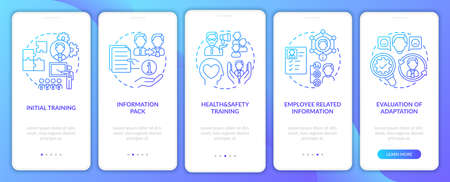 Evaluation of adaptation onboarding mobile app page screen with concepts. Health and safety training walkthrough 5 steps graphic instructions. UI vector template with RGB color illustrations