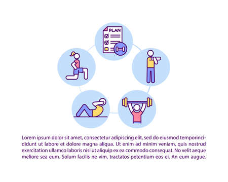 Choose a workout plan concept icon with text. Create best way for yourself to get stronger body. PPT page vector template. Brochure, magazine, booklet design element with linear illustrations