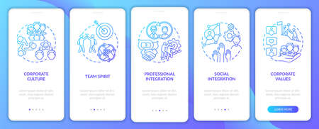 Integration onboarding mobile app page screen with concepts. Adaptation of new worker in company walkthrough 5 steps graphic instructions. UI vector template with RGB color illustrations