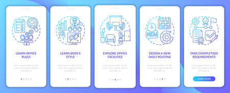 Learning office rules onboarding mobile app page screen with concepts. Tasks requirements of walkthrough 5 steps graphic instructions. UI vector template with RGB color illustrations