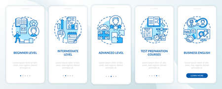 Language learning stages onboarding mobile app page screen with concepts. Elementary, intermediate, advanced walkthrough 5 steps graphic instructions. UI vector template with RGB color illustrations 向量圖像