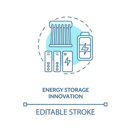 Energy storage innovation concept icon. Methods to store energy for use idea thin line illustration. Electric power sector. Vector isolated outline RGB color drawing. Editable stroke
