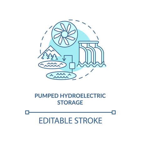 Pumped hydroelectric storage concept icon. Generation potential of renewable sources idea thin line illustration. Energy storage technology. Vector isolated outline RGB color drawing. Editable stroke