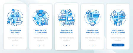 Business english aims onboarding mobile app page screen with concepts. Conferences, presentations, interviews walkthrough 5 steps graphic instructions. UI vector template with RGB color illustrations