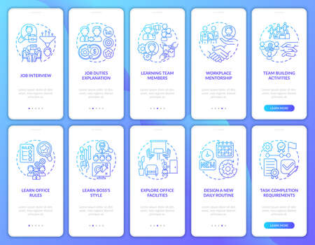 Requirements of completion task onboarding mobile app page screen with concepts set. Office facilties walkthrough ten steps graphic instructions. UI vector template with RGB color illustrations