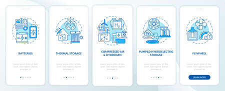 Pumped hydroelectric storage onboarding mobile app page screen with concepts. Thermal storage walkthrough 5 steps graphic instructions. UI vector template with RGB color illustrations