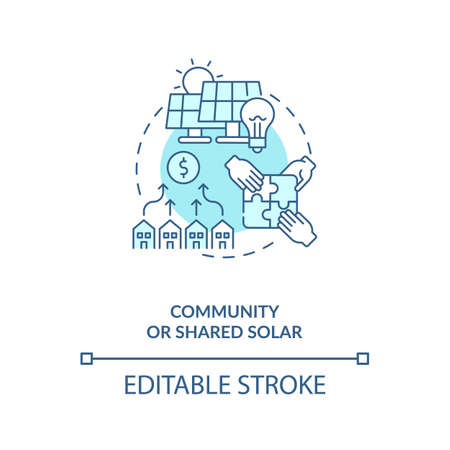 Community or shared solar concept icon. Providing power benefit idea thin line illustration. Electric bill credit for electricity. Vector isolated outline RGB color drawing. Editable stroke