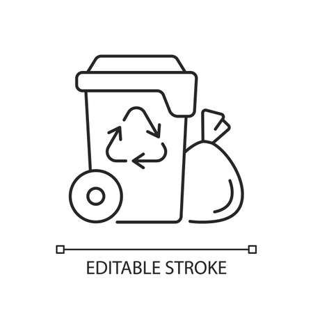 Residential waste collection linear icon. Garbage pickup. Household waste. Residential services. Thin line customizable illustration. Contour symbol. Vector isolated outline drawing. Editable stroke