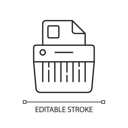 Paper shredding linear icon. Cutting paper into either strips, fine particles. Mechanical device. Thin line customizable illustration. Contour symbol. Vector isolated outline drawing. Editable stroke