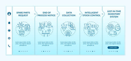 Machine-to-machine communication onboarding vector template. Stock control. Just-in-time inventory system. Responsive mobile website with icons. Webpage walkthrough step screens. RGB color concept Ilustração Vetorial