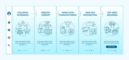 Cyber-physical systems usage benefits onboarding vector template. Robotic surgery. Deep-sea exploration. Responsive mobile website with icons. Webpage walkthrough step screens. RGB color concept