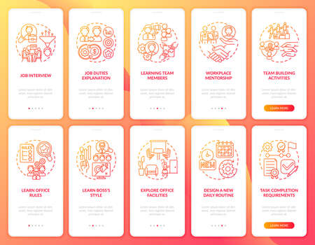 Design new daily routine onboarding mobile app page screen with concepts set. Job interview walkthrough ten steps graphic instructions. UI vector template with RGB color illustrations