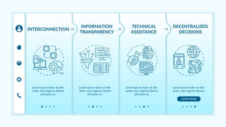Industry 4.0 design principles onboarding vector template. Info transparency. Decentralized decisions. Responsive mobile website with icons. Webpage walkthrough step screens. RGB color concept