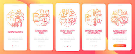 Basic information pack of company onboarding mobile app page screen with concepts. Probation and mentorship walkthrough 5 steps graphic instructions. UI vector template with RGB color illustrations
