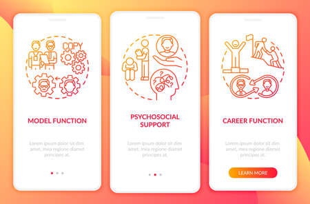 Model and career functions onboarding mobile app page screen with concepts. Psychosocial support walkthrough 3 steps graphic instructions. UI vector template with RGB color illustrations