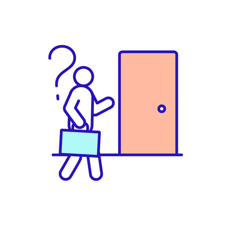 Job interview RGB color icon. Not realistic descriptions of position and unexpected working conditions. Potential employer and job applicant. Appointment and employment. Isolated vector illustration