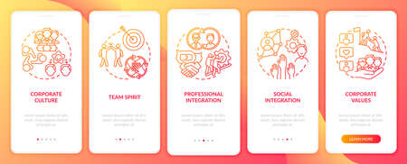 Team spirit onboarding mobile app page screen with concepts. Professional and social interrelation walkthrough 5 steps graphic instructions. UI vector template with RGB color illustrations