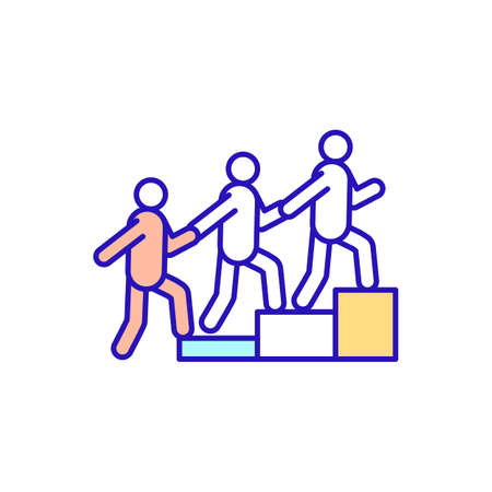 Work in teams RGB color icon. Colleague going on career ladder. Group of people achieve shared goal. Helping workers for newbies. New worker and employee adaptation. Isolated vector illustration