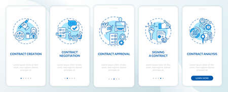 Contract lifecycle steps onboarding mobile app page screen with concepts. Contract preparing walkthrough 5 steps graphic instructions. UI vector template with RGB color illustrations