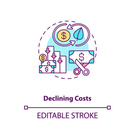 Declining costs concept icon. Renewable energy production costs idea thin line illustration. Gas and hydro plants for power generation. Vector isolated outline RGB color drawing. Editable stroke